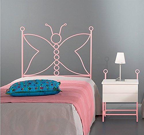 Dfürro fdforja Kopfteil, Design Schmetterling, für Matratze, 90cm  , Metall, 128 95 3  Modern 95.0x4.0x128.0cm   Weiß