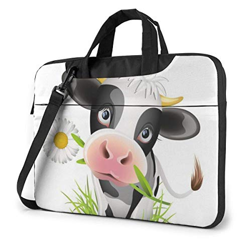 15.6 inch Laptop Shoulder Briefcase Messenger Cute Cow Tablet Bussiness Carrying Handbag Case Sleeve