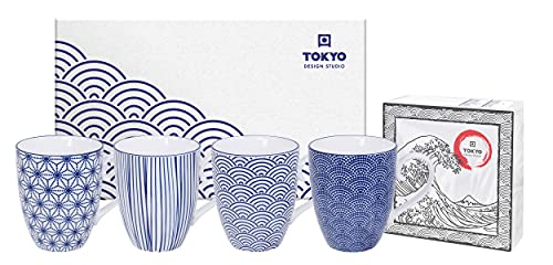 TOKYO design studio Nippon Blue, 4 Tassen Set in dekorativer Geschenkbox, Porzellan Geschirr, 380ml