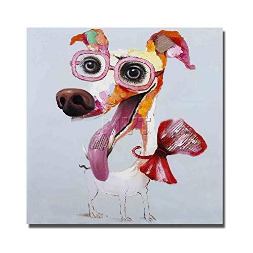 WunM Studio hand beschilderde olieverfschilderijen op doek, groot formaat moderne abstracte dierlijke schilderijen, grappige hond grote kop, Art Decor voor huis ingang woonkamer slaapkamer kantoor volwassenen geschenken 150 x 150 cm