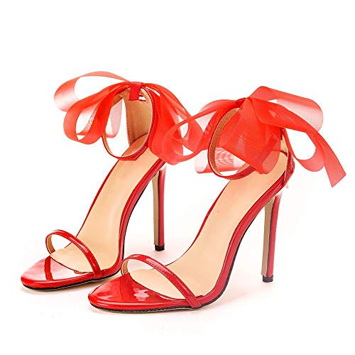 Nuomeisi Women's Court Shoes,High Heels Bridal Shoes,11cm Temperament Sexy Bow Stiletto Heels Wedding Shoes Mary Jane Pumps,Clubbing Evening Wedding Party Dress Bridesmaid Shoes,Red,42 EU