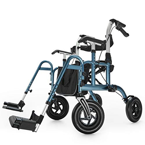 Health Line Massage Products Safety 2 in 1 Rollator-Transport Chair, with 10 Inch Big Wheels, Adjustable Paded Armrest and Safety Belt, Mobility Rolling Walker for Senior, Elderly & Handicap, Blue