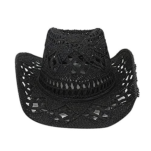 Sombrero de Vaquero Occidental de Paja Hecho a Mano Sombreros para el Sol de Playa Sol de Fiesta para Hombre Mujer Gorra de ala rizada protección Solar Sombreros Unisex