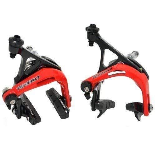 Tektro R741 - Juego de freno de pinza de freno de aluminio para bicicleta de carretera, color negro y rojo, ST1434