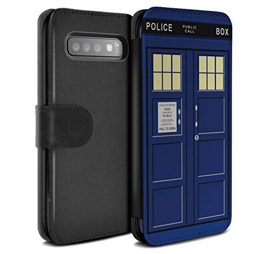 Hülle Für Samsung Galaxy S10 Tardis Telefonzelle Kunst Blau Design PU Leder Tasche Brieftasche Schutz Handyhülle Flip Case