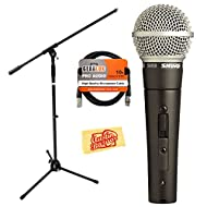 Shure SM58S Vocal On/Off Switch Microphone Bundle with 20-Foot XLR Cable, Windscreen, and Boom Stand