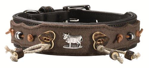 Hunter Hundehalsband Alm, Gr. 50, Sattelleder, schwarz, mit Filz