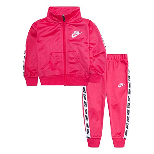 Nike Baby Girls' Toddler Tricot Track Suit 2-Piece Outfit Set, Rush Pink, 2T