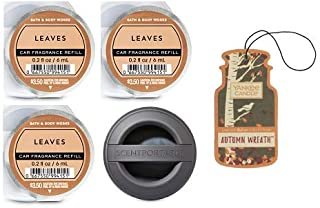 Bath and Body Works Black Soft Touch Visor Clip Car Fragrance Holder and 3 Scentportable Leaves. Paperboard Car Fragrance Autumn Wreath.
