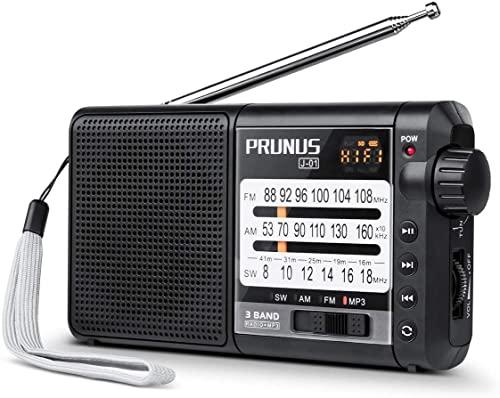PRUNUS J-01 Radio Portable FM/AM(MW)/SW/WMA, Poste Radio Transistor DSP avec Gros Boutons et Grands Cadrans,Batterie Rechargeable et Remplaçable de 2200mAh (20h écoute)