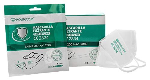 Mascarillas FFP2 CE 2834 Powecom Homologadas Certificadas protege frente a aerosoles 5 capas alta filtración de partículas: ≥ 94% Cumple normativa EN 149:2001 + A1:2009 (envase individual/caja 20 uds)
