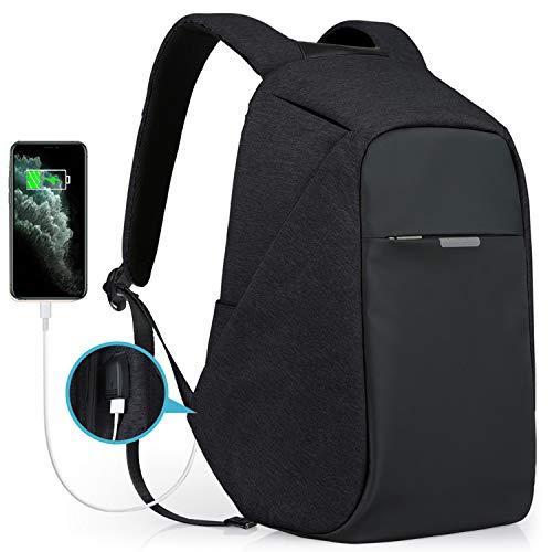 Laptop Backpack, Theft Proof Travel Backpack, Hidden Zipper Bag with USB Charging Port, Water Resistant Business Back Pack for Student Work Men & Women by Oscaurt New Version Black