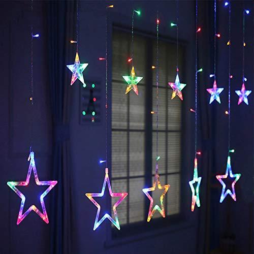 LED Lichterkette Lichtervorhang 12 Sterne 2.5m*1m, 138 LEDs Lichterkettenvorhang mit 8 Lichtmodelle Lichterkette für Partydekoration deko schlafzimmer, Innenbeleuchtung, Bunt