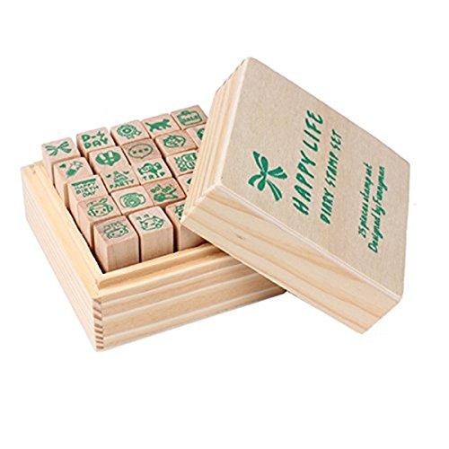 Yansanido 25pcs Mini Cute DIY Diary Wooden Rubber Stamp Set with Wooden Box (25pcs LOVE style)