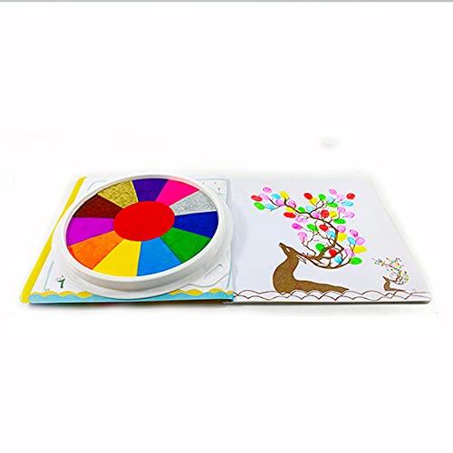 Btlesa Divertido juego de pintura de dedos con libro, 6/12 colores, pintura de barro, juguete de aprendizaje temprano, lavable para bricolaje, pintura de dedos, juego de herramientas de aprendizaje