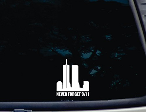 "Never Forget 9/11-3 3/4"" x 4 1/4"" die cut vinyl decal for window, car, truck, tool box, virtually any hard, smooth surface"