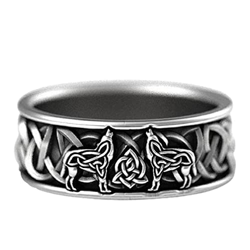 Wolf Ring for Men, Nordic Viking Wolf Head Ring Celtic Howling Wolf Animal Ring Hip Hop Biker Ring Men's Punk Wolf Cross Ring Jewelry Gift Father's Day Accessories (8)