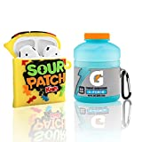 2 pack Sports Water+Food Airpod 2/1 Case,Food Cute 3D Cartoon Funny for Girls Boys Kids Women Teens,Protect Silicone Skin for AirPods Case Candy Drink Accessories with KEYCHAIN