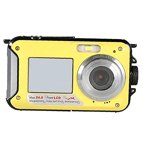RRunzfon Submarina cámara Digital de la cámara 48MP cámara Impermeable con Doble Pantalla para bucear Nadar Practicar Surf Amarillo, Una fotografía Mochila para DSLR