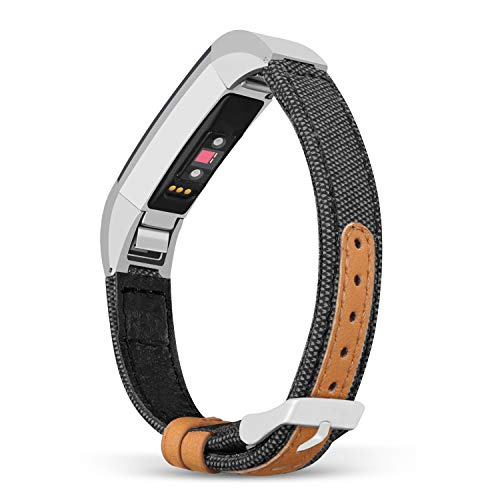 Jobese Compatible Fitbit Alta Band/ Alta Hr/ Fitbit Ace Band, Soft Classic Canvas Fabric Straps with Genuine Leather Bands Compatible Fitbit Alta/ Alta Hr/ Fitbit Ace Fitness Tracker Wristbands