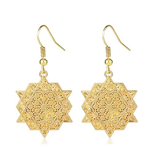 Candelabro de color dorado con filigrana pendientes colgantes bohemios para mujer joyería de boda pendientes florales naturales