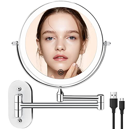 Rechargeable Wall Mounted Makeup Mirror with 3 Color Lights and 1x/5x Magnification, 8 inch Lighted Up Mirror with Double Sided, Dimmable LED Lights, 360° Swivel Extendable Shaving Bathroom Mirror