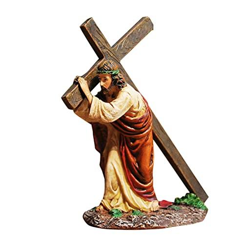 4,7″ Jezus Onder Het Kruis Esus Ornament Geschenken Jezus Decor Figuur Kerstmis Katholieke Miniaturen Figuren