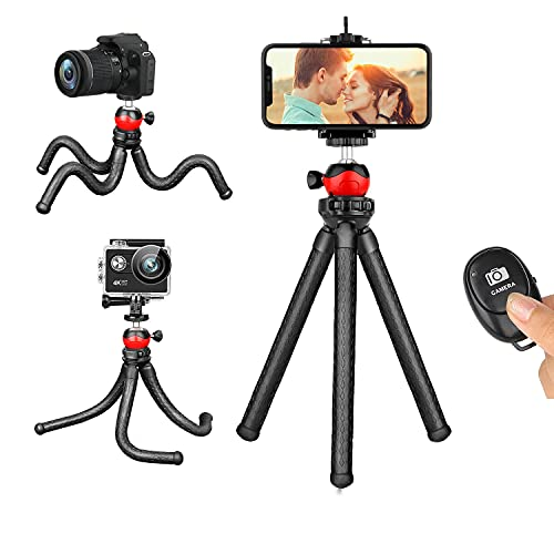 Phone Tripod,Flexible and Portable Adjustable Cell Phone Stand Holder with Remote and Universal Clip Compatible with iPhone Android Phone Compact Digital Camera Sports Camera GoPro
