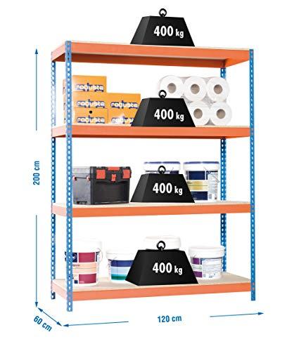 Simonrack Ecoforte 1206-4 Chipboard Metal Naranja, Azul, Madera natural - Estanterías para el hogar (4 estanterías, Metal, Naranja, Azul, Madera natural, 400 kg, 9 min, Estantes de rejilla)
