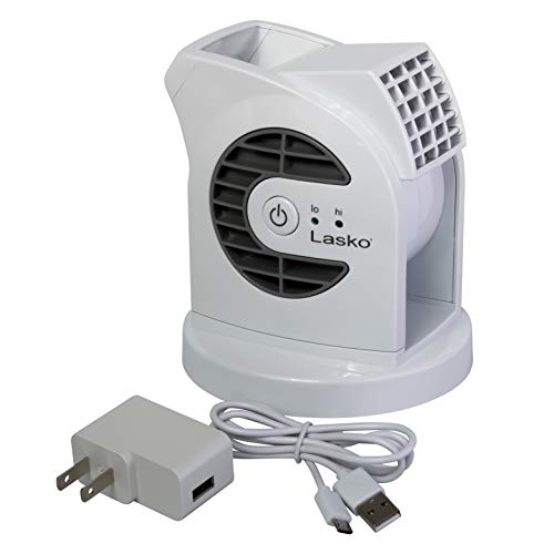 Lasko D300 Mini USB Desk Fan with 40in. USB Cable and Bonus AC Adapter – Small Quiet Portable Personal 2-Speed Fans for Staying Cool at Home, Work, Office, Dorm, Car, Outdoor and Travel, White