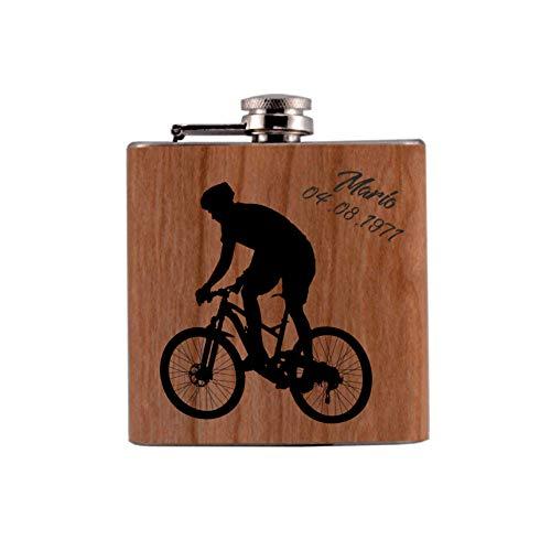 MCK-Handel Flachmann Bedruckt anstelle Gravur - mit Echtholzfurnier ummantelt - für den Radsportler - Motiv: Radfahrer und Ihren Angaben [Vornamen] & [Geburtstagszahlenl]