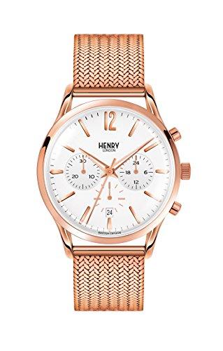 Henry London Orologio Cronografo Quarzo Unisex con Cinturino in Acciaio Inox HL41-CM-0040