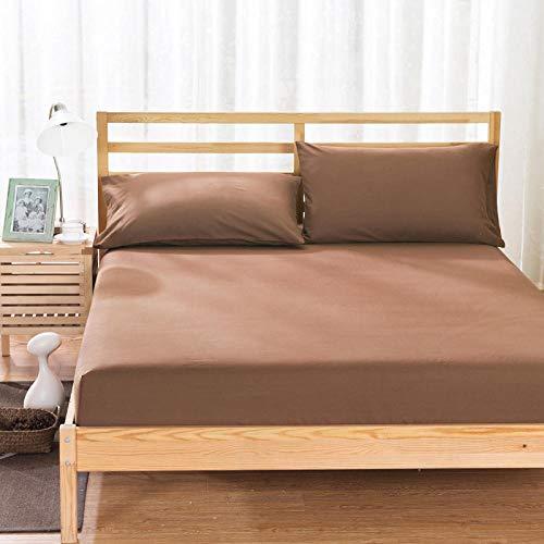 HPPSLT colchón Acolchado, antialérgico antiácaros, Funda Antideslizante para sábana-café_180x200cm