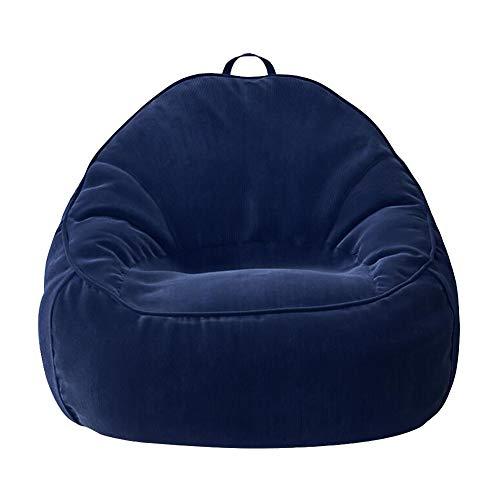Bolsa De Frijoles Adulto Espalda Alta Tela De Pana Tumbona Reclinable Gigante Bolsas De Frijol Cojín De Piso Sillas De Asiento Sofa Cama Sala De Estar CJC (Color : Deep Blue)