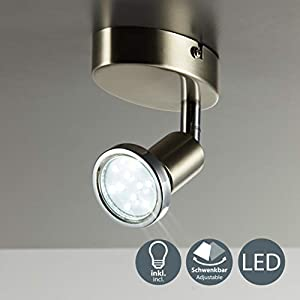 B.K.Licht Foco LED de techo/Lámpara de techo/Foco/GU10/3vatios/250lúmenes/orientable/incluye anillo cromado/níquel mate