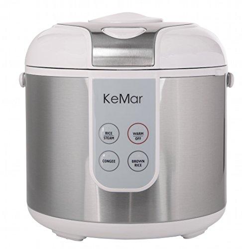 KeMar Kitchenware KRC-130 digitaler Reiskocher, BPA-frei, Brauner Reis, Naturreis, Dampfgarer, Titan Keramik Beschichtung, Edelstahl Dämpfeinsatz