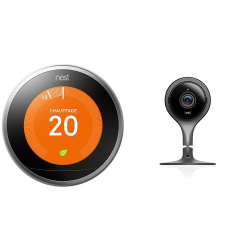 Nest Learning Thermostat 3rd gen. - Termostato (Acero inoxidable, Analógico, 53 x 53 mm, lithium-ion) + Cam - Cámara de vigilancia IP