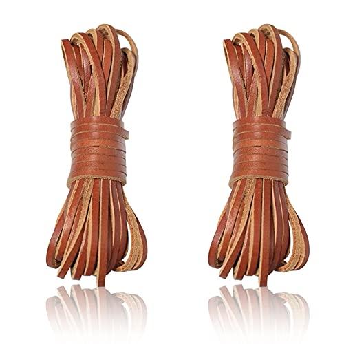 CRAFFANCY Cuerda de cuero plana de 10 metros, cuerda de cuero natural, cuerda de cuero para manualidades, collares y pulseras