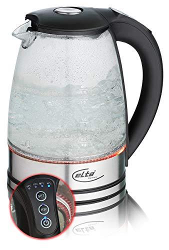Elta Glas Wasserkocher Easy Choice Temperaturauswahl (5 Temperaturen, 5 Farben LED Beleuchtung, Warmhaltefunktion, 2200Watt, Strix-Control, 1,7L, Abschaltautomatik)