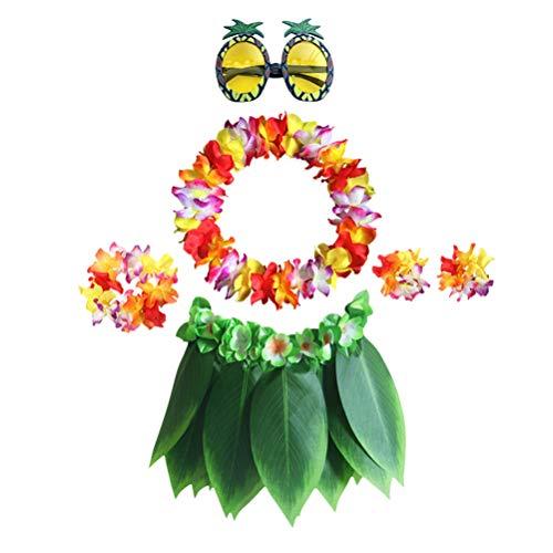 ABOOFAN 6pcs in 1 Set Hawaiian Leis Party Costume Set Artificial Leaf Skirt Bracelets Headband Neck Loop Pineapple Eyeglasses Set Tropical Beach Luau Party Fancy Supplies for Child Party Favor