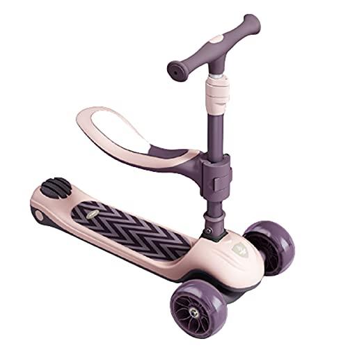 patinetes Scooter Infantil, Puede Sentarse Y Montar Un Scooter, Asiento Desmontable, Asa Ajustable, Adecuado para Principiantes para Niños(Color:Rosado)