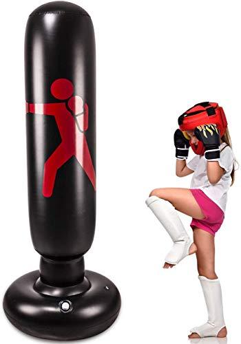 Aufblasbarer Boxsack für Kinder 160 cm Boxsack mit Unterstützung Freistehender Boxsack Robust für das Boxen Karate-Training für Junge Leute sowie drinnen und draußen üben
