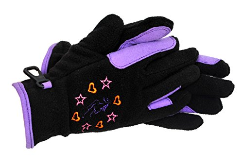 Riders Trend Girl's Riding Fleece Gloves - Black/Purple, Child Large