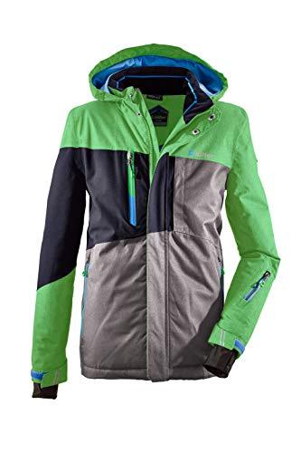 Killtec Skijacke Jungen Laurin Jr - Funktionsjacke mit Kapuze - Winterjacke Kinder mit Schneefang - Snowboardjacke Jungen - wasserdicht, grün, 140
