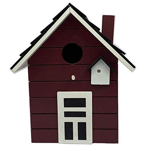 CasaJame Holz Vogelhaus für Balkon und Garten, Nistkasten, Bordeaux, Haus für Vögel, Vogelhäuschen, 20 x 17 x 12cm