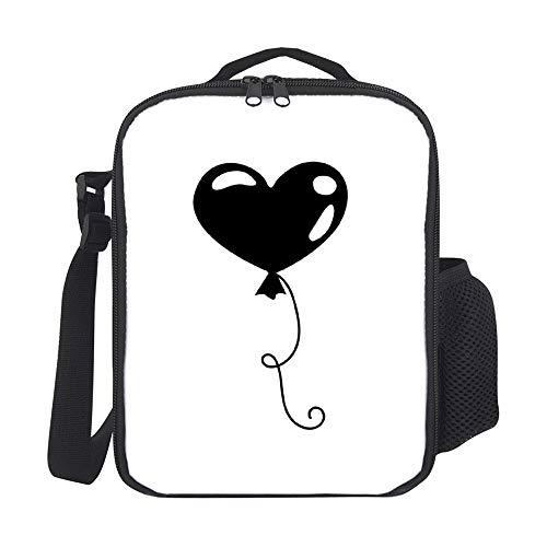 Bolsas de almuerzo aisladas para niños, con soporte para botellas, globo en forma de corazón, color negro 03, ideal para hombres, adultos, reutilizable, bolsa de comida para trabajo, escuela, picnic