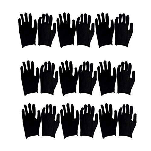 Exceart 12 Paar Schwarze Handschuhe Atmungsaktive Handschutzschutzhandschuhe Arbeitshandschuhe Berühren Kostenlose Haushaltshandschuhe für Frauen Männer (Groß) (Dünn)