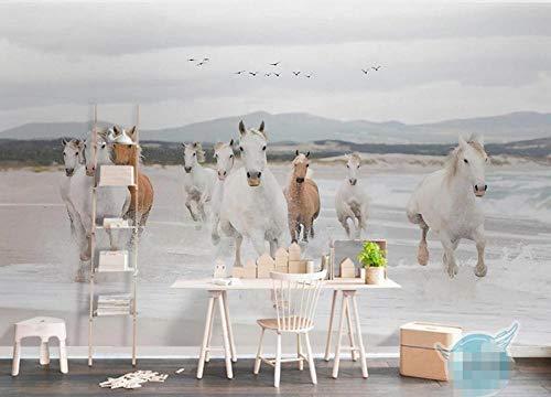Carta Da Parati Muro 3D Cavalli In Corsa Fotomurali Murales Da Parete 3D Soggiorno Camera da letto Decorazione Wallpaper 430cmx300cm