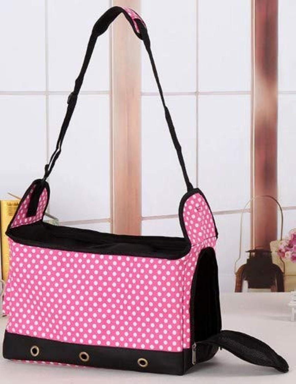 Pet Out Portable Messenger Bag Fashion Breathable Shoulder Bag Dog Backpack Handbag Folding (color   Pink)