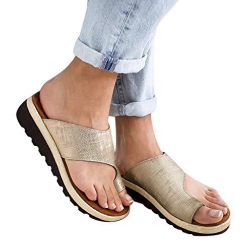 Aniywn Women Wedges Sandals Open Toe Comfy Platform Sandal Shoes Summer Beach Roman Shoes Flip Flops Slippers Gold 35